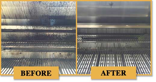 Before and after of barbecue cleaning.