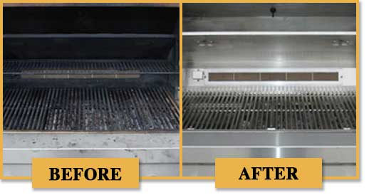 before and after photos of grills.