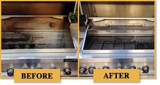 Before and after photos of what BBQ grills look like.