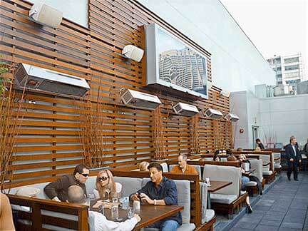 Commercial Patio heaters in restaurant.