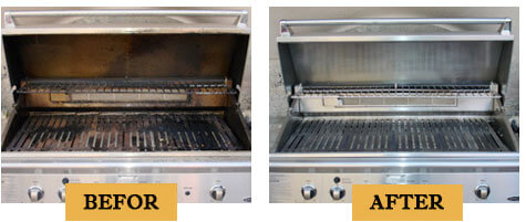 BBQ Cleaning Before and After photo.